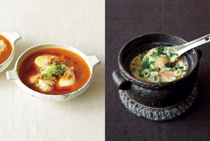 寄せ豆腐の麻婆スープ(左)、鮭とニラの韓国風茶碗蒸し(右)