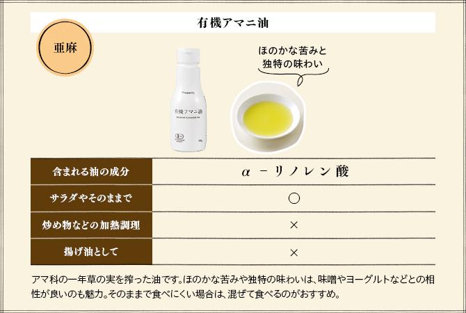 ほのかな苦みと独特の味わいの有機アマニ油