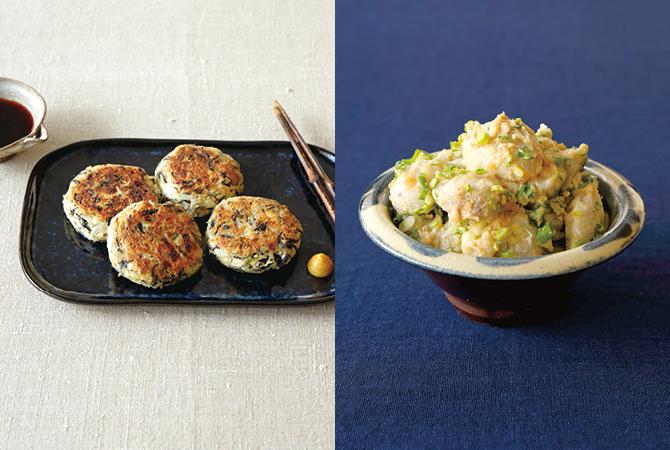 ふんわり手作り焼きがんも(左)、里芋のタラモサラダ(右)