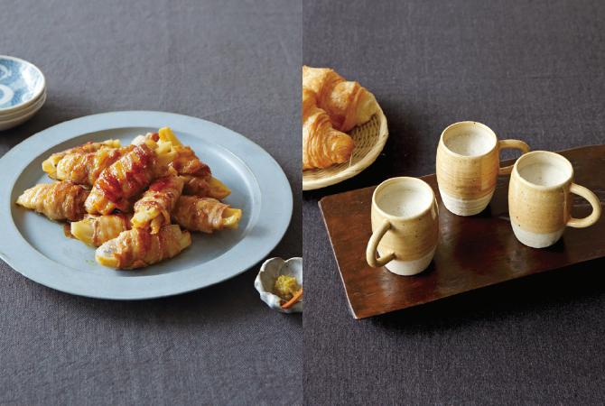 れんこんの豚バラ肉巻き(左)、ごぼうのポタージュ(右)
