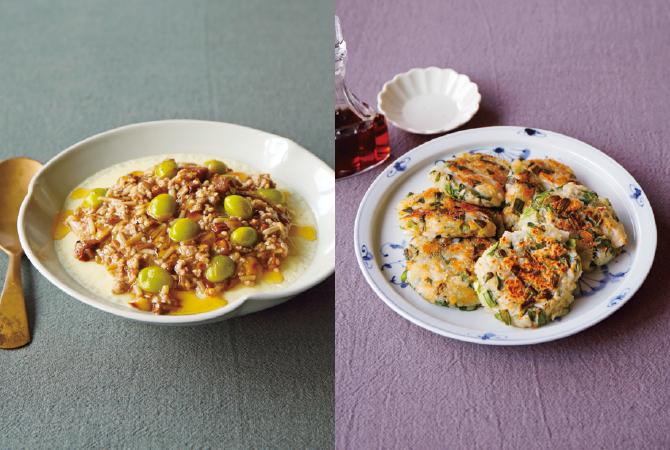 豆乳茶碗蒸し(左)、ニラたっぷりれんこんもち(右)