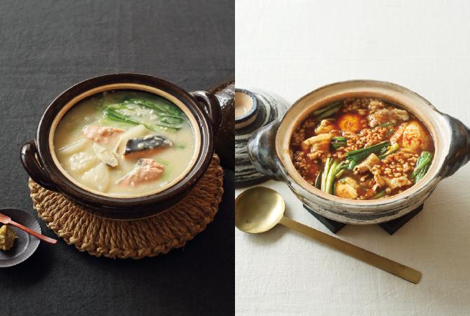 甘酒石狩鍋(左)、ひきわりで作る韓国風納豆鍋(右)
