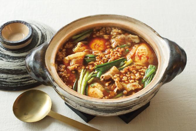 ひきわりで作る韓国風納豆鍋