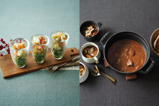 エビと根菜のパーティーサラダ(左)、八丁味噌仕立てのビーフシチュー(右)