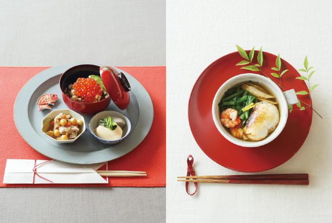 もずく寿司の正月膳(左)、玄米もちの養生雑煮(右)