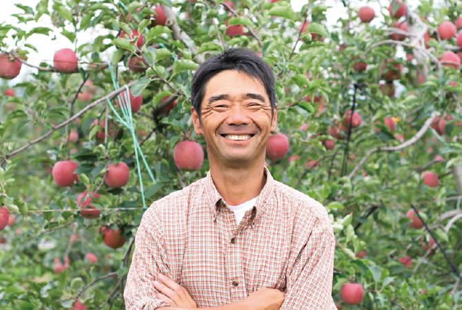 原俊朗・原明子さんのふじ(りんご) 生産者、長野県松本市 原俊朗さん