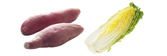 濃厚あま蜜さつまいも・紅はるか・400g&ぎゅっと凝縮甘み白菜・1/4コ