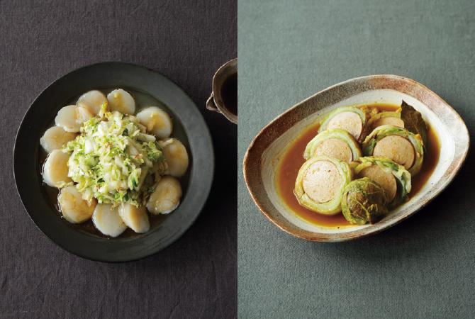 白菜とホタテの中華風カルパッチョ(左)、まんまるロール白菜(右)