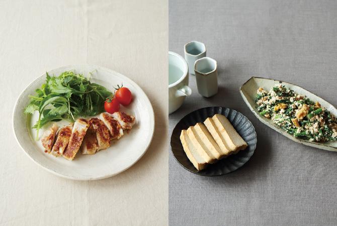 味噌とぬか衣のロースかつ風(左)、豆腐の味噌漬けと白和え(右)