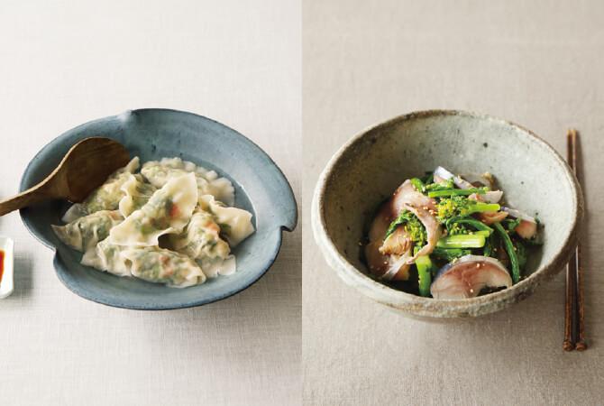 菜花とエビの生姜餃子(左)、菜花とシメサバのナムル(右)