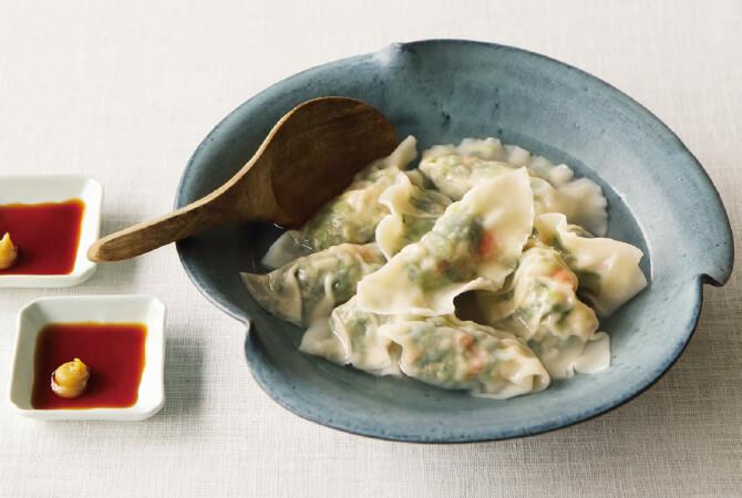 菜花とエビの生姜餃子