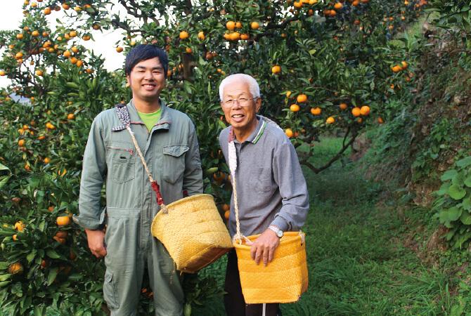 和歌山・川端グループのはっさく生産者、川端敬さん(右)と息子の川端宏幸さん(左)