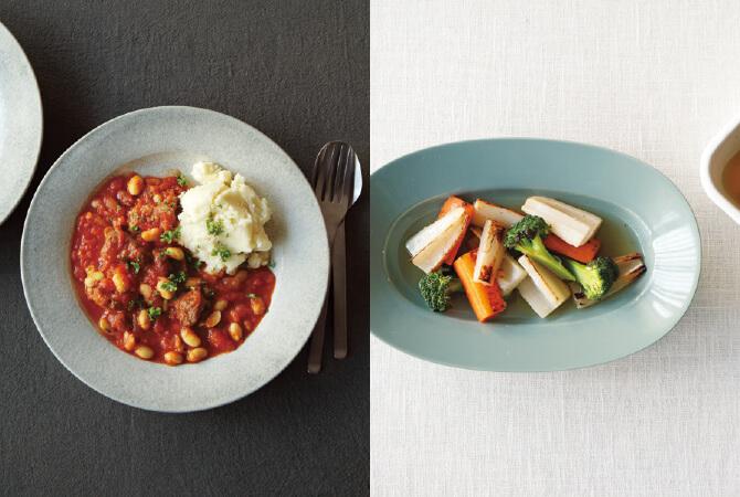 短角牛スネ肉のトマトシチュー(左)、ジンジャー香るホットピクルス(右)