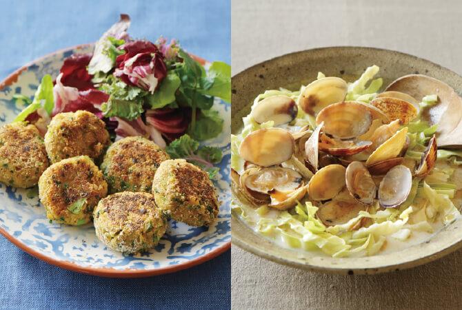 春キャベツのファラフェル(左)、春キャベツとアサリの豆乳酒蒸し(右)