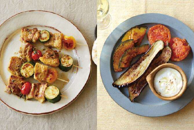 豚ブロック肉のタンドリーポーク(左)、焼き野菜の塩麹ヨーグルトソース(右)