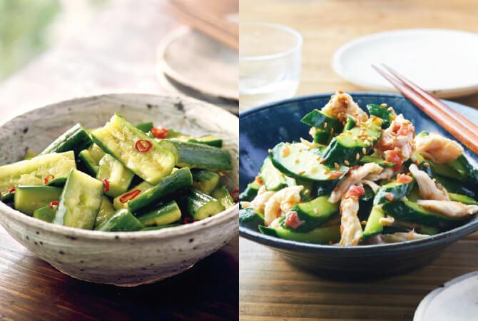 きゅうりのおすすめメニュー。左はピリ辛味のたたききゅうり、右はきゅうりの梅和え