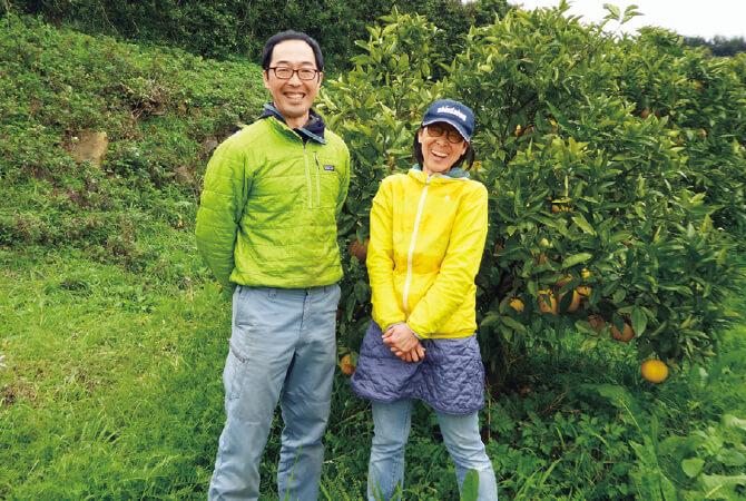 熊本のグレープフルーツ生産者、熊本県水俣市 肥薩自然農業グループ 吉田浩司さん(左)と明子さん(右)