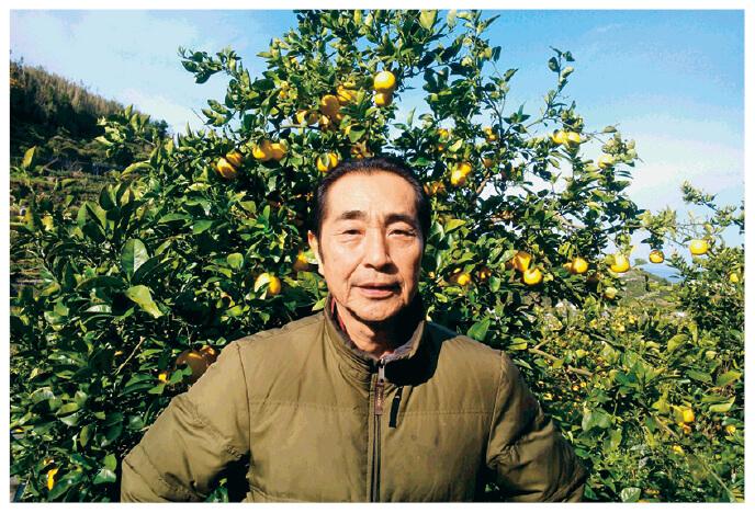 果汁を食べる河内晩柑の生産者、熊本県熊本市 ブレス 東勝徳さん
