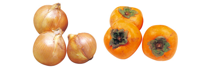 北海道・大作さんの玉ねぎ(札幌黄)・500g&種なし柿(刀根柿または平核無柿)・600g