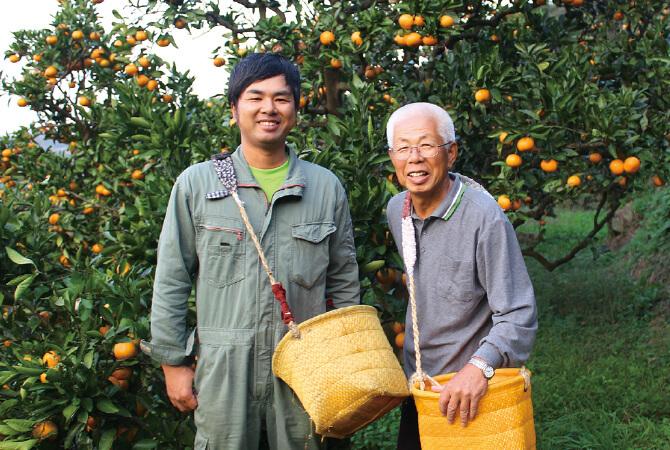 温州みかん生産者、和歌山県海南市 川端 敬グループ 川端 敬さんと息子の宏幸さん(左)