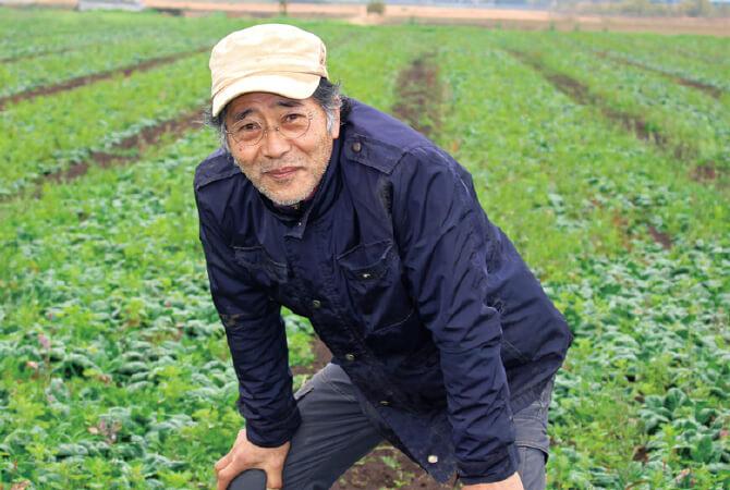 寒ちぢみほうれんそう 生産者、茨城県つくば市 オーガニックファームつくばの風 山本 稔さん