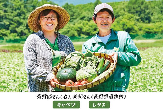 キャベツ、レタスの生産者、青野勝さん(右)・美紀さん(長野県南牧村)
