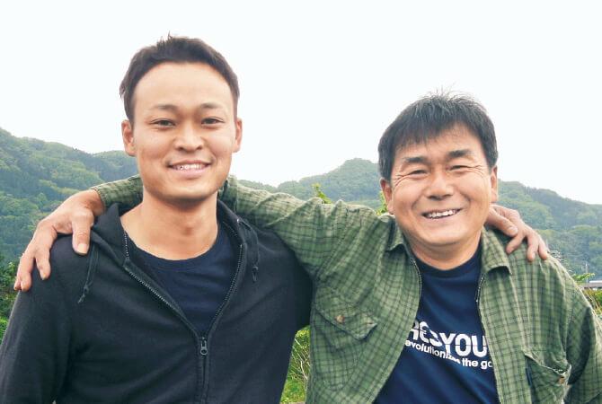 枝豆生産者、群馬県昭和村 野菜くらぶ 宮下義明さん(左)・武浩之さん(右)