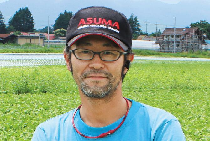春菊生産者、群馬県長野原町 北軽井沢有機ファミリー 清水明俊さん