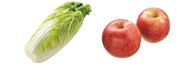 ミニ白菜・1コ&つがる(早生りんご)・450g